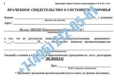 Купить справку из НД в Москве с доставкой